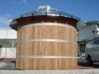 Corrugated Rain Harvesting Tanks -Wood Wrapped Tan